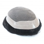 DE Fine Mono With Poly With Gauze In Perimeter Mens Toupee